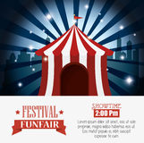 Poster tent festival funfair city background Stock Image