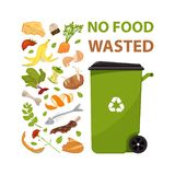 Poster with text No food wasted. Cartoon dumpster with food garbage. Illustration for food processing and compost, organic waste, stock photo