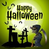 A poster on the theme of the Halloween holiday. The grim Reaper came to an old abandoned cemetery. Vector illustration. A poster on the theme of the Halloween Stock Image