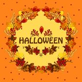 Poster on theme of the Halloween holiday party. Cute greeting card on theme of golden autumn. Ornate backdrop of fallen stock illustration