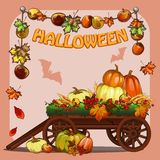 Poster on theme of Halloween holiday party or greeting card on theme of golden autumn with space for your text. Fallen royalty free illustration