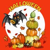 A poster on the theme of the Halloween holiday party. A pile of ripe pumpkins and berries of mountain ash and cute bat vector illustration