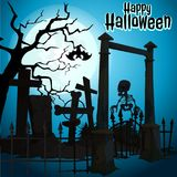 A poster on the theme of the Halloween holiday. Undead skeleton leaves abandoned cemetery. Vector illustration. A poster on the theme of the Halloween holiday Stock Images