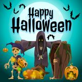 A poster on the theme of the Halloween holiday. Vector illustration. A poster on the theme of the Halloween holiday. Vector Royalty Free Stock Photography