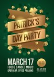 Poster to celebrate St. Patrick`s Day. Gold tape with inscription: `Patrick`s Day Party` and gold clover leaves. Vector illustration royalty free illustration