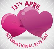 Tender Couple of Hearts Kissing to Celebrate International Kiss Day, Vector Illustration. Poster to commemorate International Kiss Day with reminder date and a royalty free illustration