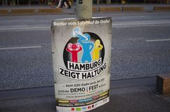 Poster to demonstrate at the G20 summit in Hamburg with the inscription in German `Hamburg shows attitude` in English Hamburg sh. Ows attitude after the riots in royalty free stock photography