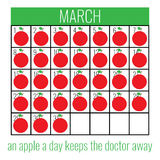 Poster to Health Day. Poster to World Health Day with calendar and text An apple a day keeps the doctor away Stock Image