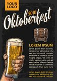 Poster to oktoberfest festival. Hands holding beer glasses glass and wooden barrel. Royalty Free Stock Photo