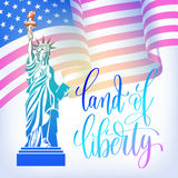 Poster to 4th july USA independence day banner with american fla. G, statue of liberty and hand lettering land of liberty, vector illustration Royalty Free Stock Photos