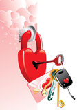Poster to the Valentine's day. Keys from female heart. A poster to the Valentine's day. A  illustration Stock Photos