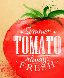 Poster tomato. Poster watercolor tomato lettering summer tomato always fresh drawing on kraft paper Royalty Free Stock Image