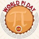 Tasty Pie in Top View with Pi Symbol for World Pie Day, Vector Illustration. Poster with a top view of a delicious pie with a tasty button over cream with royalty free illustration