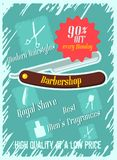 Poster on the topic of barbershop. List of services and discounts Stock Photo