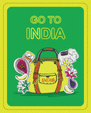 Poster for tourists on the theme of India. With the inscription - Go to India royalty free illustration