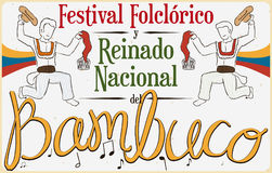 Poster with Traditional Bambuco Dance Display for Colombian Folkloric Festival, Vector Illustration Stock Photography
