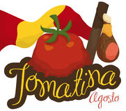 Waving Flag, Stick, Ham and Splattered Tomato for Tomatina Festival, Vector Illustration. Poster with traditional elements for Tomatina Festival in August Royalty Free Stock Images