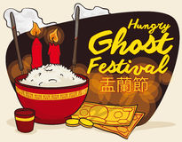 Poster with Traditional Offering to Celebrate Ghost Festival, Vector Illustration Stock Photos