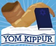 Shofar Horn and Sacred Book over Tallit for Yom Kippur, Vector Illustration. Poster with traditional Shofar horn and book with sacred prayers over white tallit Stock Photography