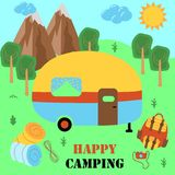 Happy camping poster with trailer - vector illustration, eps royalty free illustration
