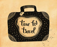 Poster about travel and adventure in retro style on old paper. Time for travel. Vector Royalty Free Stock Images