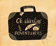 Poster about travel and adventure in retro style on old paper. Vector Royalty Free Stock Photo