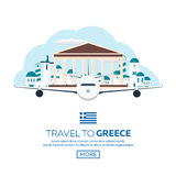 Poster Travel to Greece skyline. Acropolis. Vector illustration. Stock Images