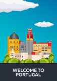 Poster Travel to Portugal skyline. Vector flat illustration Stock Photos