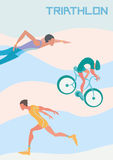 Poster for triathlon competitions. Runner, cyclist and swimmer. Vector illustration. Stock Photography