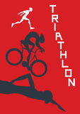 Poster for triathlon competitions. Vector illustration with runner, cyclist and swimmer. Stock Images