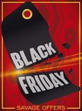 Broken Price Tag over Tribal Background for Savage Black Friday, Vector Illustration. Poster with tribal background and sliced price tag promoting a savage Stock Photography