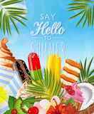 Poster with tropical ice cream Royalty Free Stock Images