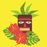 Poster with tropical palm leaves and flowers hibiscus, flower hawaiian with tiki mask bar logo, exotic summer flower hawaii backgr Stock Photo