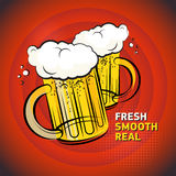 Poster with the Two Beer glass text Fresh, Smooth, Real Royalty Free Stock Photos