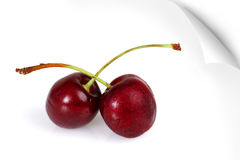 Poster of two sweet cherries. Peeling poster of two delicious fresh red ripe and plum cherries with water condensation droplets, stem crossed, love concept Royalty Free Stock Images