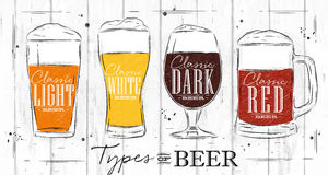 Poster types beer coal Royalty Free Stock Images