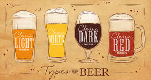 Poster types beer kraft Royalty Free Stock Photography