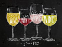Poster types of wine chalk Royalty Free Stock Images