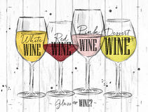 Poster types of wine Stock Images