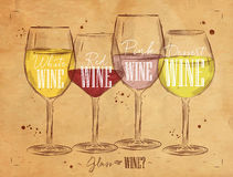Poster types of wine kraft Royalty Free Stock Photo