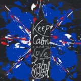 Poster with typographical phrase Keep calm and love England. Stock Photo