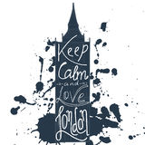 Poster with typographical phrase Keep calm and love London. Vector design art postcard with creative slogan. Retro greeting card i Royalty Free Stock Photos