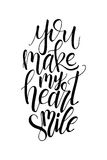 Poster with typographical quote. Hand lettering postcard. Ink vector illustration. You make my heart smile Royalty Free Stock Photo