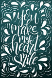 Poster with typographical quote. Hand lettering postcard. Ink vector illustration. You make my heart smile Stock Image