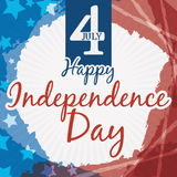 Poster with U.S. Independence Day Design and Greeting Message, Vector Illustration Stock Photography
