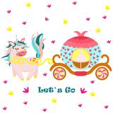 Poster with unicorn and princess carriage - vector, illustration, eps vector illustration
