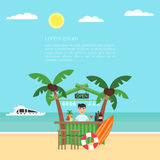 Poster the vacation at the ocean. Sea, yacht, bar and a palm tree. Modern flat design. Vector illustration. Summer. Poster the vacation at the ocean. Sea, yacht Royalty Free Stock Photo
