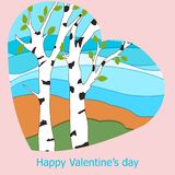 Poster Valentine`s Day card with abstract background of hearts,. Romantic words vector illustration Stock Illustration