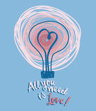 Poster for valentine's day with lightbulb and heart in sketch style Royalty Free Stock Photo