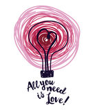 Poster for valentine's day with lightbulb and heart in sketch style Royalty Free Stock Photos